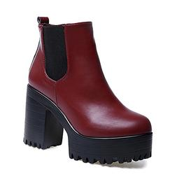 Fashion in Londony, Women Boots Square Heel Platforms Leathe