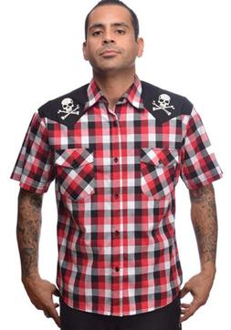 Steady Clothing Chaos Western Button Up Shirt Black Red