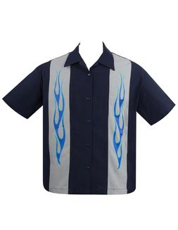 Steady Clothing Flame N Hot Panel Men's Navy Bowling Shirt R