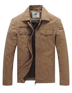 WenVen Men's Flat Collar Military Vintage Coat