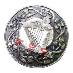 Fly Plaid Kilt Brooch Irish Harp Antique Finish Unisex Adult