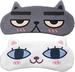 Ababalaya Unisex Funny Cat Expression Sleeping Eye Mask Eye