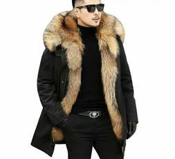 Fur Parka Jacket Coats For Men Thicken Outerwear Detachable