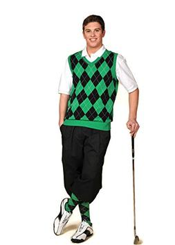 Men's Golf Outfit-Black Knickers, Black/Green/White Sweater,