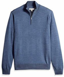 Goodthreads Men's Merino Wool Quarter Zip Sweater, Blue, Lar