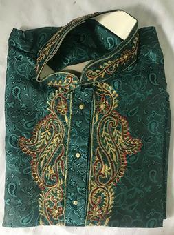 Green Designer Men Kurta Shirt Set 3 Pieces New Arrival Wedd