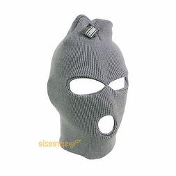 Grey Ski Mask Beanie 3 Hole Knitted Cap Hat Warm Face Winter