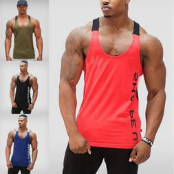 Gym Men Bodybuilding Tank Top Muscle Stringer Athletic Fittn