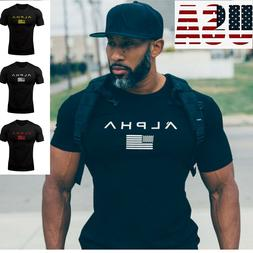 ALPHA Gym Men T-Shirt Muscle Fitness Cotton Fit Tee Workout