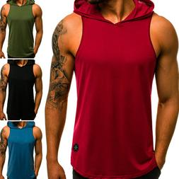 Gym Men Vest Bodybuilding Hooded Tank Top Muscle Clothing St