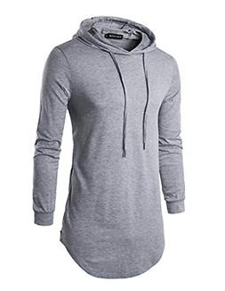 Mens Hipster Long Sleeve Side Zipper Hooded Shirt Pullover S