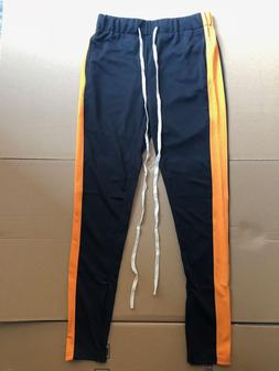 Hit Colors Side Stripe Track Pants Men Jogging Pants Zipper