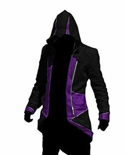 Cos2be Hoodie Jacket Coat Black&Purple,Men-L