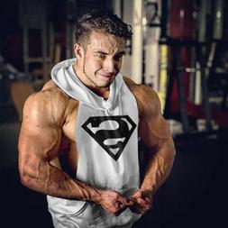 Hot Men Gym Clothing Bodybuilding Stringer Hoodie Tank Top M