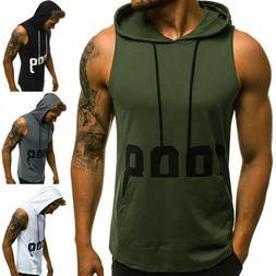 Hot Men Gym Clothing Bodybuilding Stringer Hoodie Tank Top M