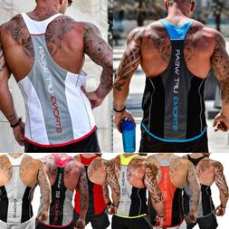 HOT!Men's Bodybuilding Stringer Tank Top Y-Back Racerback Gy