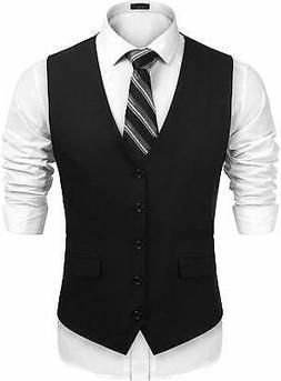 JINIDU Men's Business Suit Vest,Slim Fit Skinny Wedding Wais