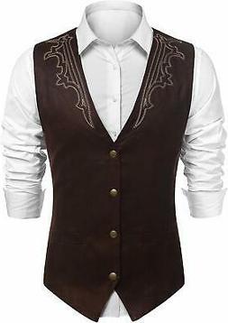 JINIDU Men's Casual Suede Leather Vest Jacket Slim Fit Dress