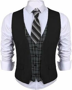 JINIDU Men's Suit Vest V Neck Skinny Layered Plaid Dress Bus