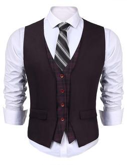 JINIDU Mens Business Suit Vest V Neck Skinny Layered Plaid W