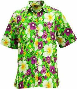 KlubKool Hawaiian Shirt Beach Flower Print Button Down Short