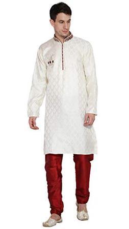 Kurta Pajama Men Indian Long Sleeve Jacquard Silk Blend Shir