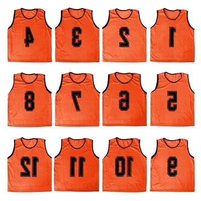 12x Lot Adult Mesh Scrimmage Vest Soccer Training Jersey, 13-24
