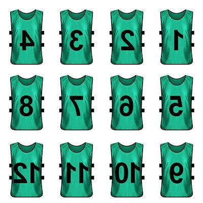 12x Lot Numbered Training #1-12 Soccer Pinnies Jersey