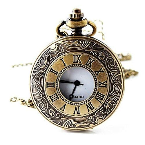 EFORLED Mens Pocket Watch,Armbands,Pre Tie,Black,L1