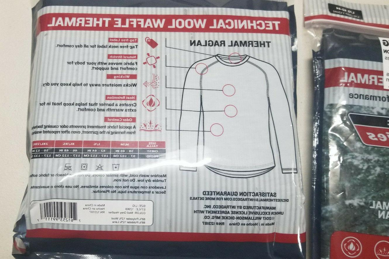 2 PACKS Dickies Technical Wool Waffle Baselayer 42-44 Black