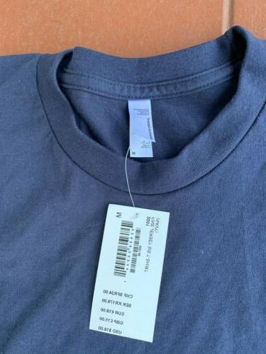 3 Men's American Apparel 2001 T-Shirts Blue Cotton USA
