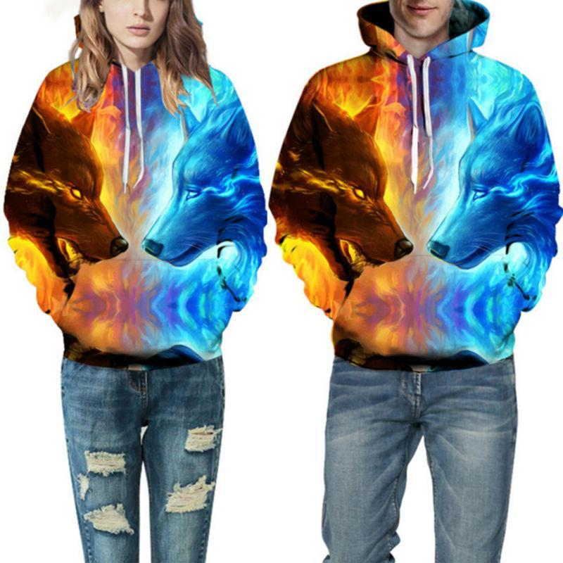 3D Animal Couple Hoodies Sweatshirt Jacket Coat