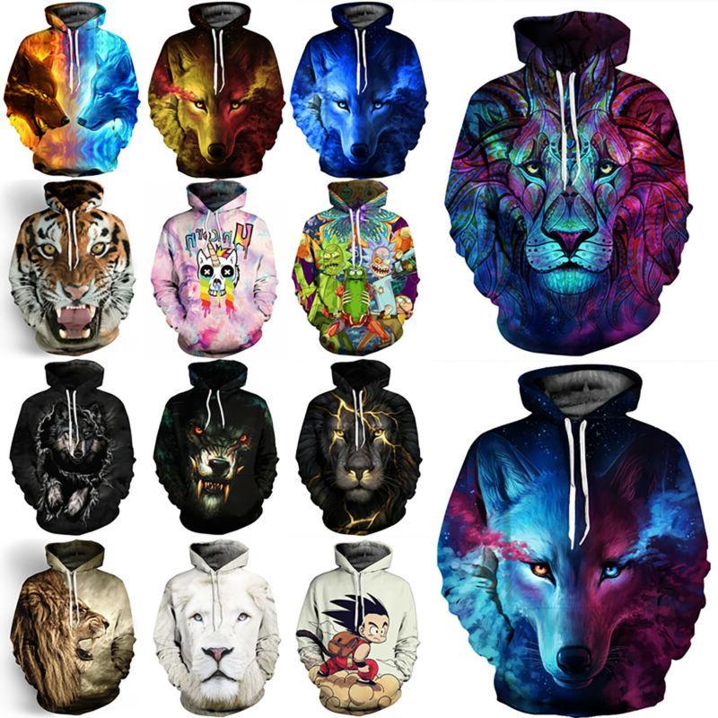 3d animal graphic couple hoodies sweatshirt men