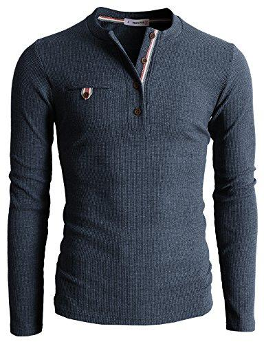 H2H Mens Casual Fit Henley with Bound Pocket Waffle Cotton US L