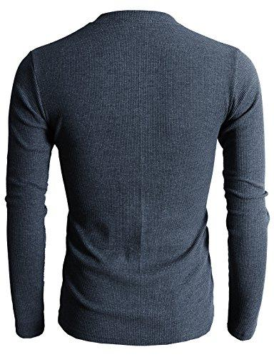H2H Mens Fit Henley with Bound Pocket of Waffle Cotton HEATHERNAVY M/Asia L
