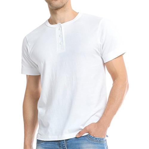 Just No Logo Men's Short Sleeve Casual Cotton Henley T-Shirt