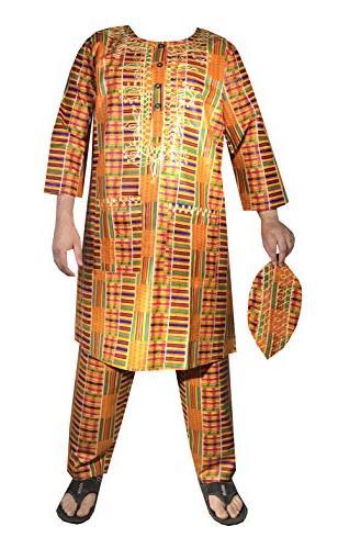 African Men Kent Dashiki Pant Cotton Wedding Ethnic Party Suit with