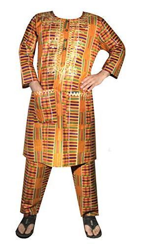 African Men Kent Dashiki Pant Set Cotton Wedding Ethnic Suit with Hat