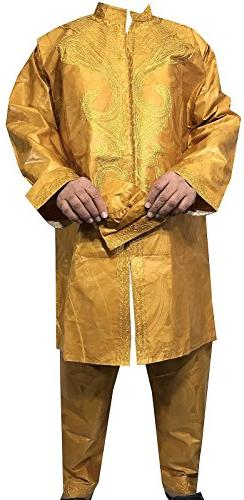 DecoraApparel African Men Pant Suit Brocade Embroidered 3PCs