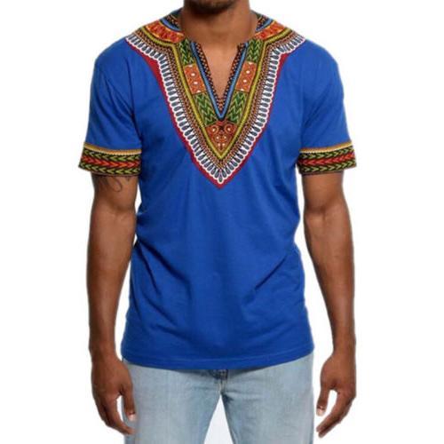 African Tribal Shirt Men Dashiki Succinct Top