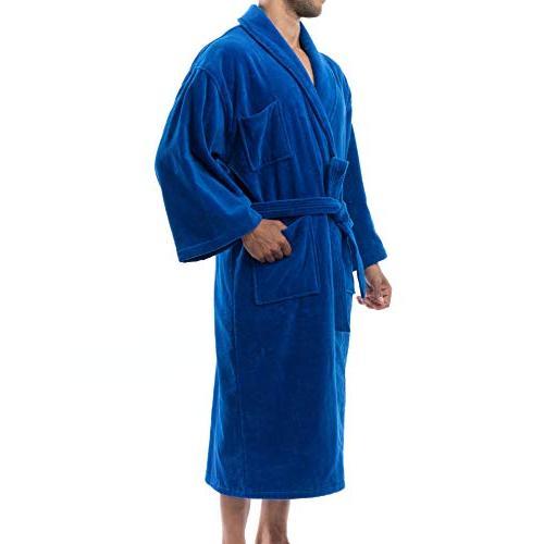 alpine swiss Aiden Mens Cotton Terry Cloth Bathrobe Shawl Velour Robe BLU ML