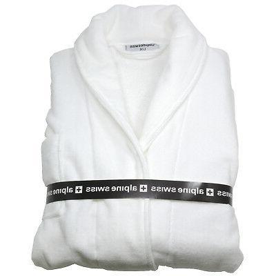 Alpine Swiss Cotton Cloth Bathrobe Shawl Collar Velour Robe