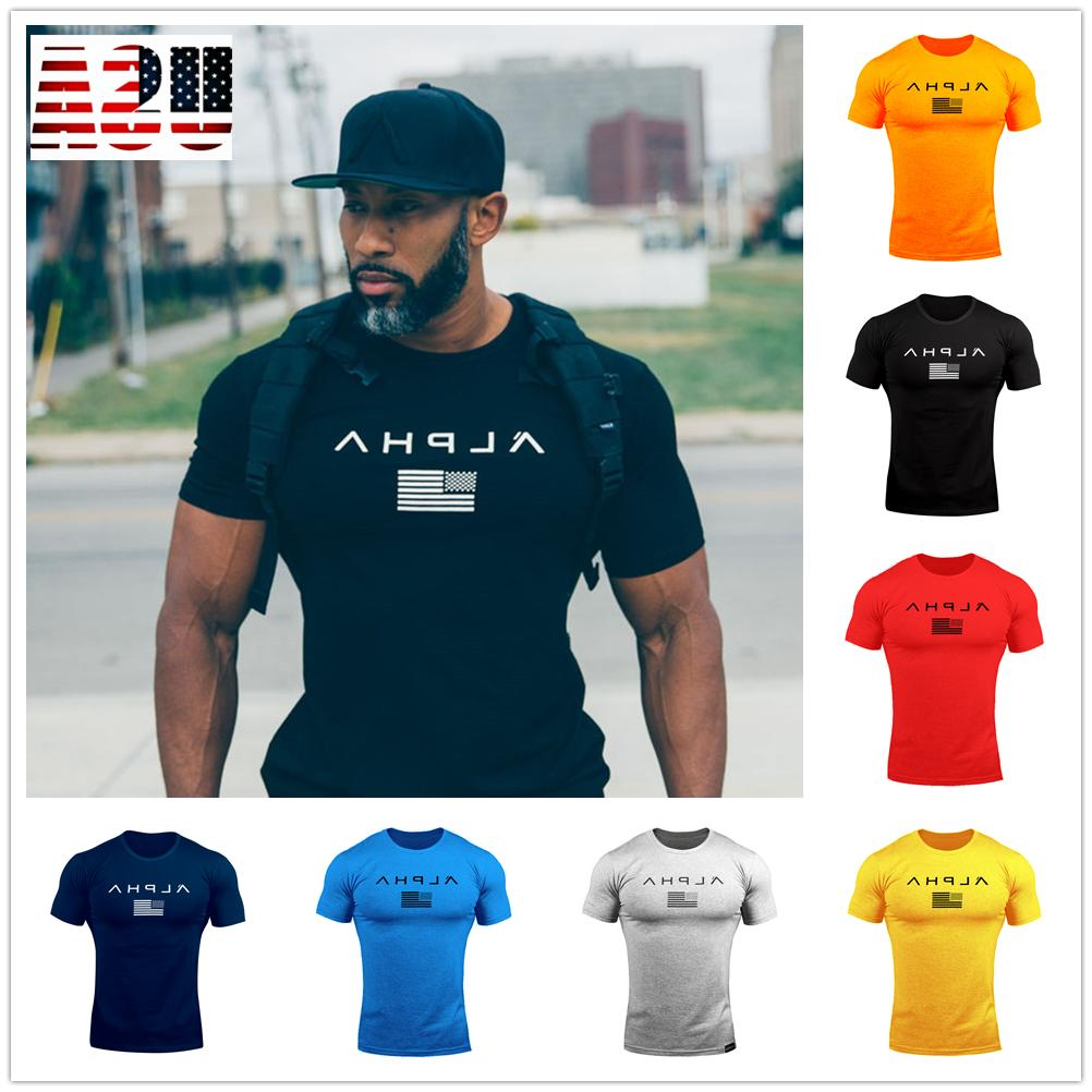 alpha gym men muscle fitness cotton fit
