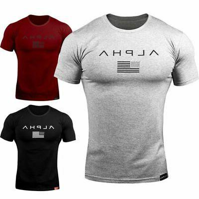 alpha men gym t shirt muscle sports