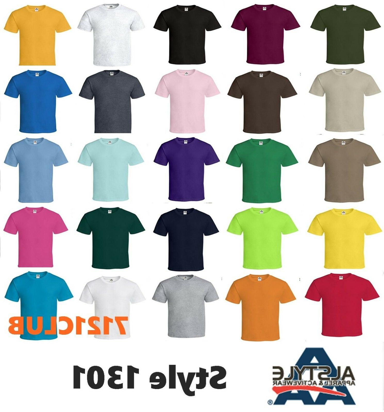 Alstyle Apparel AAA T Shirt 1301 Men's Plain Blank Short Sle