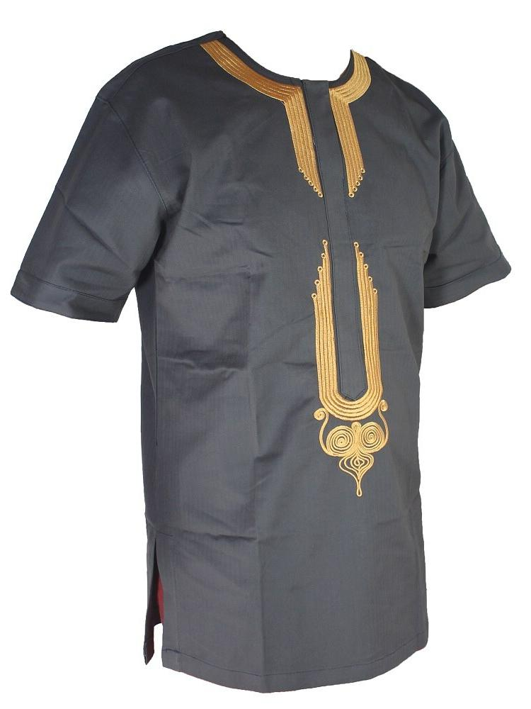 Arabic Ethnic Golden <font><b>Men</b></font>`<font><b>s</b></font> Tunic Islamic