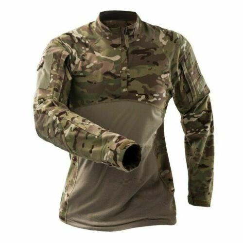 Army Tactical Mens Combat T-Shirt Long Casual Pullover Top Camouflage