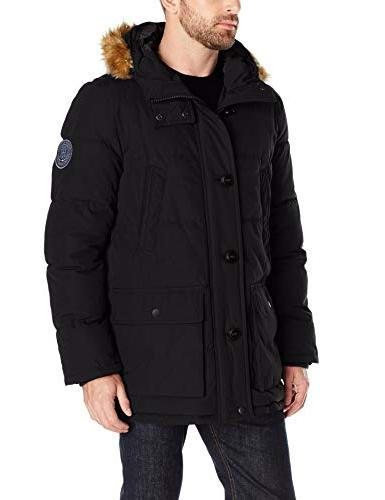 artic cloth quilted hooded long
