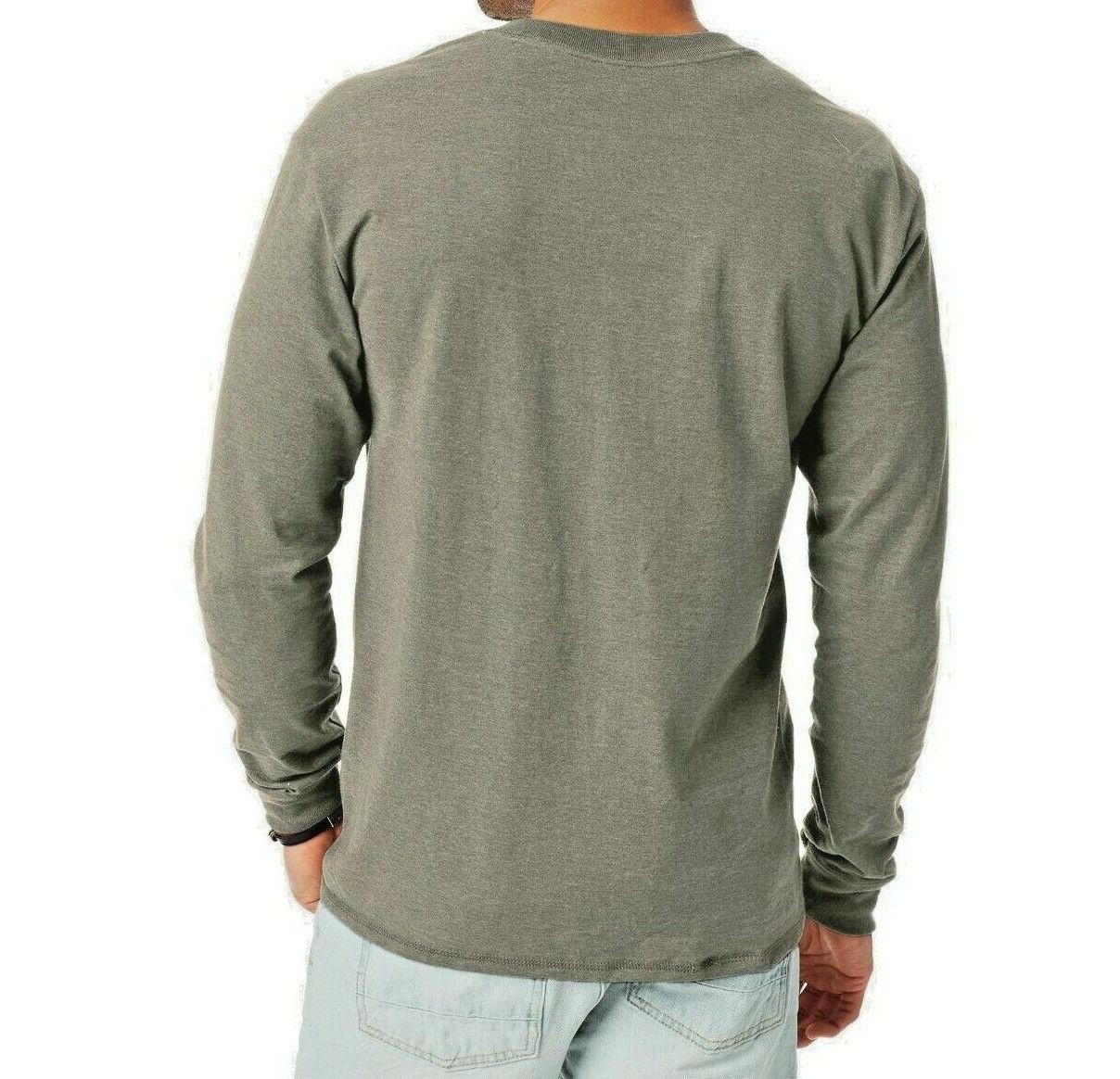 Hanes Beefy-T Men's Long-Sleeve T-shirt Gray