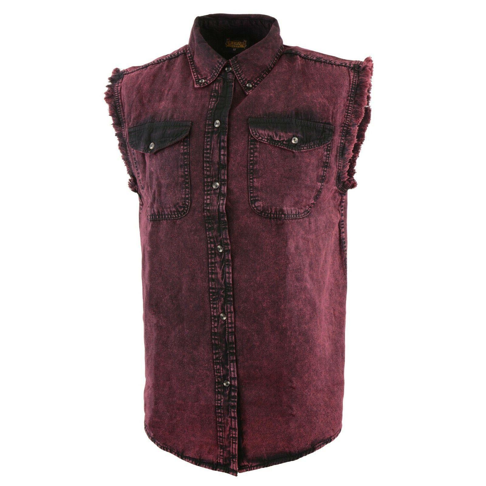 Biker Clothing Men's Magenta Sleeveless Shirt W/ Frayed Sl
